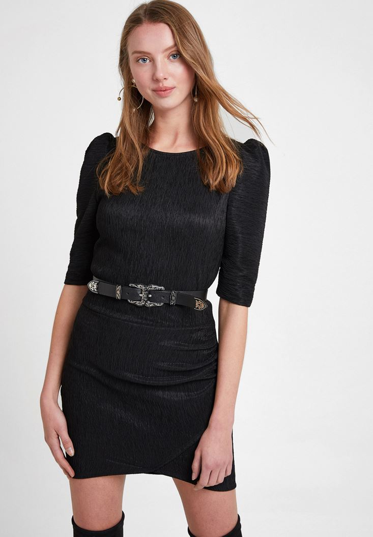 Black Textured Dress with Detail