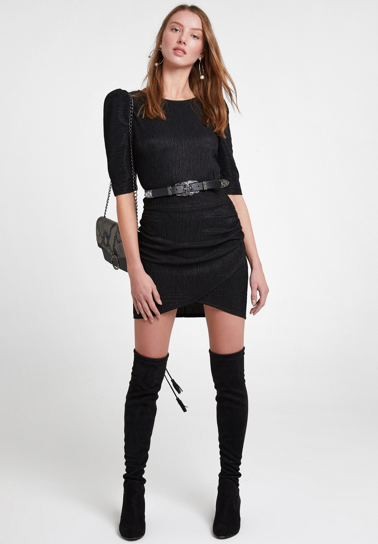 Women Black Textured Dress with Detail