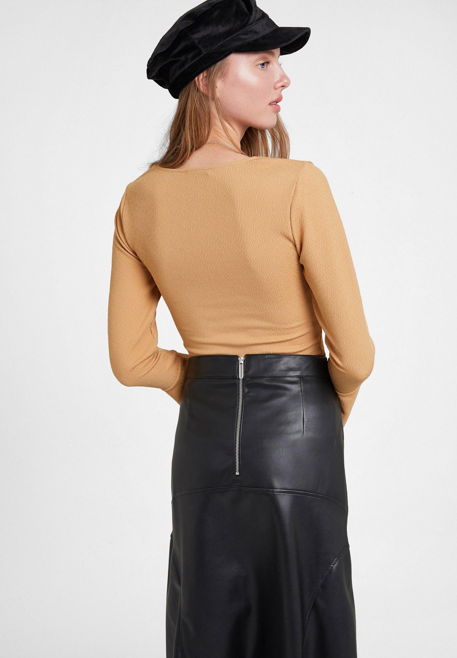 Women Brown V Neck Textured Blouse