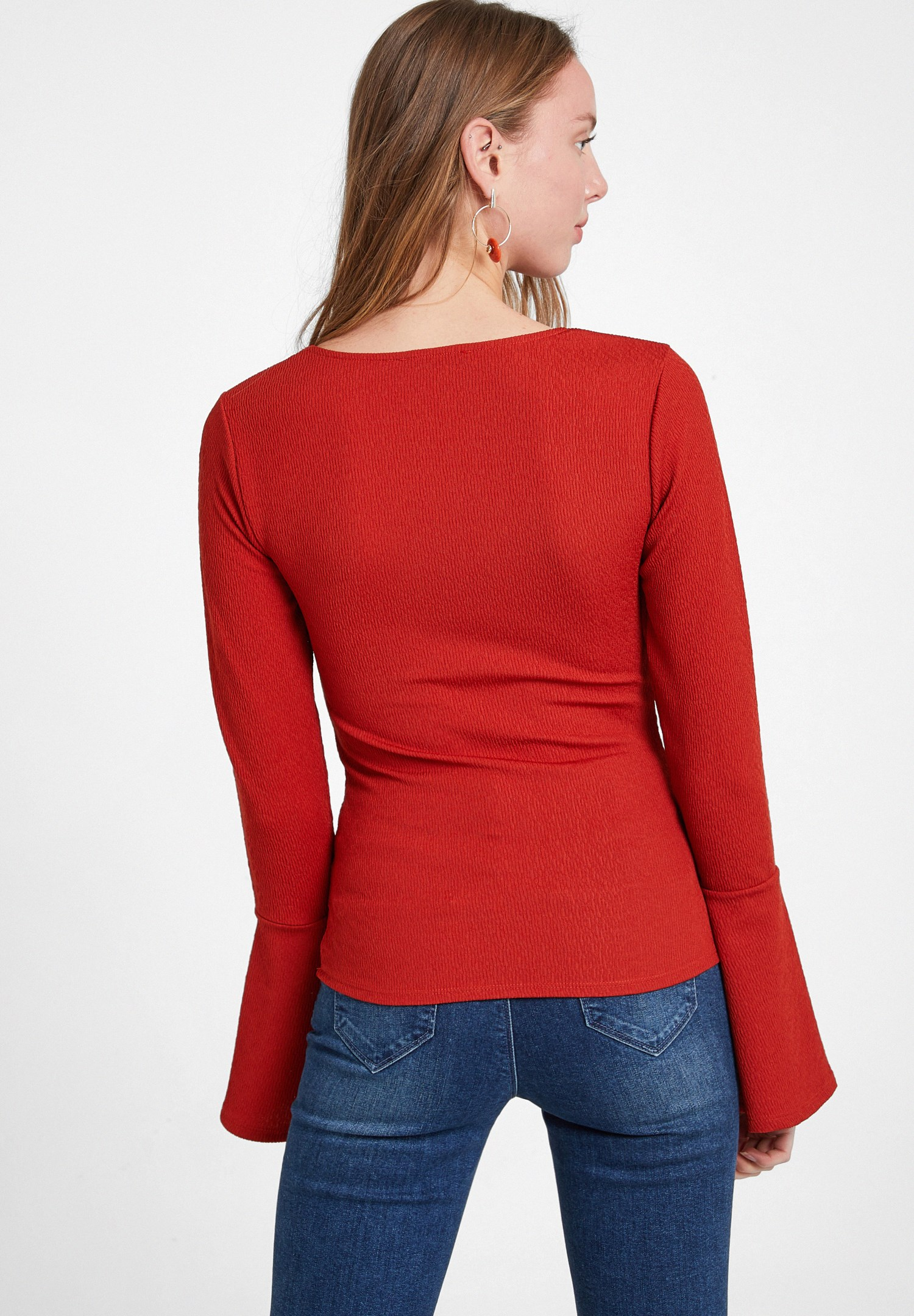 Women Red V Neck Textured Blouse