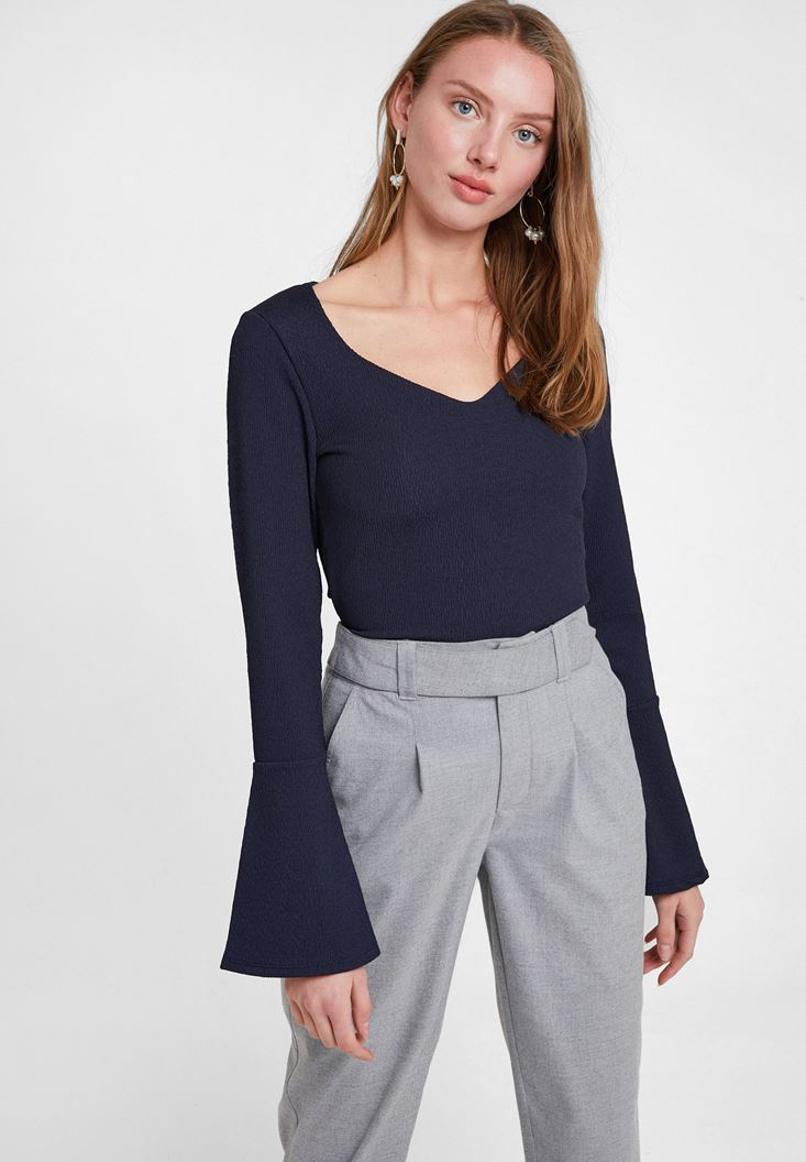 Navy V Neck Textured Blouse