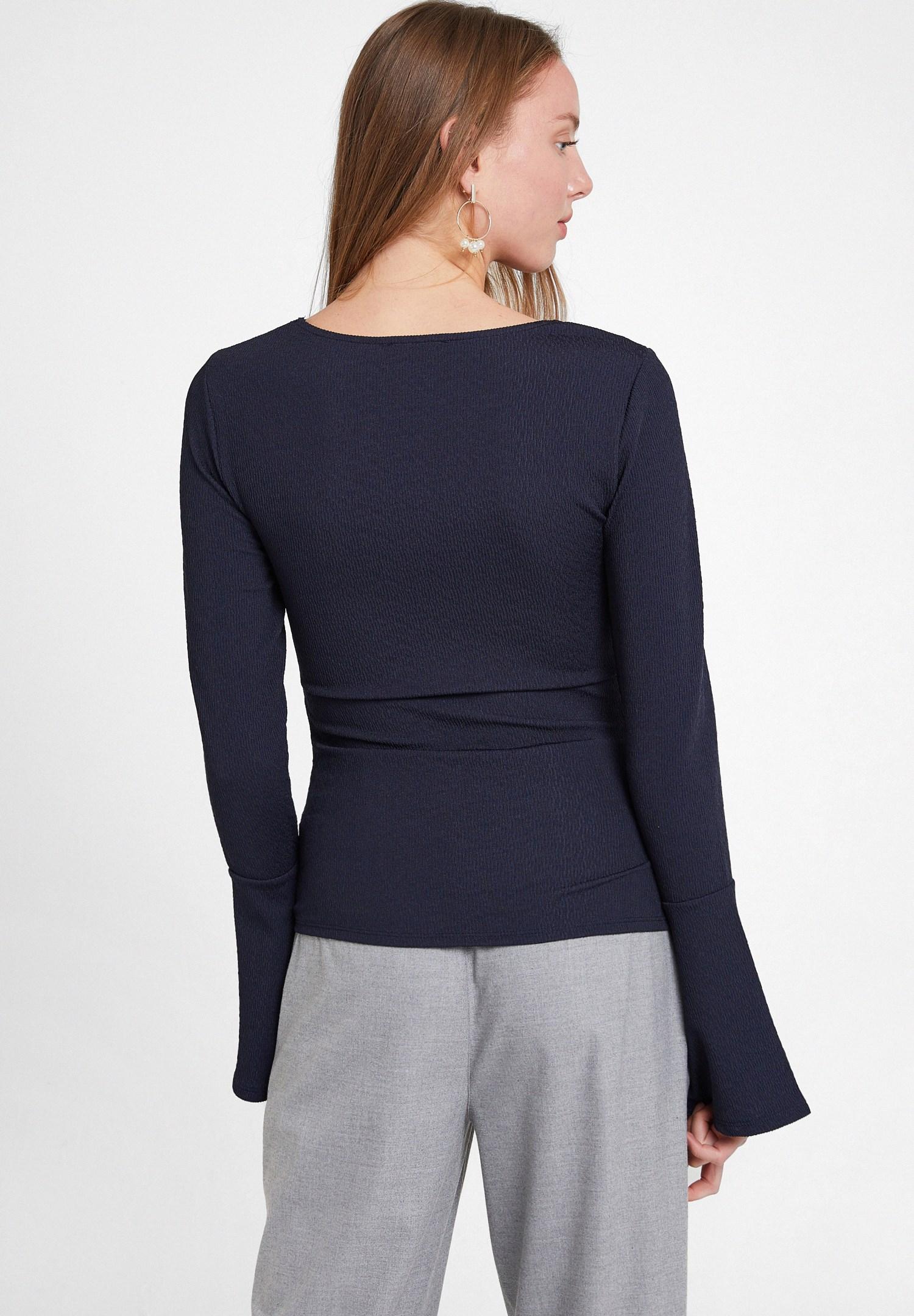 Women Navy V Neck Textured Blouse
