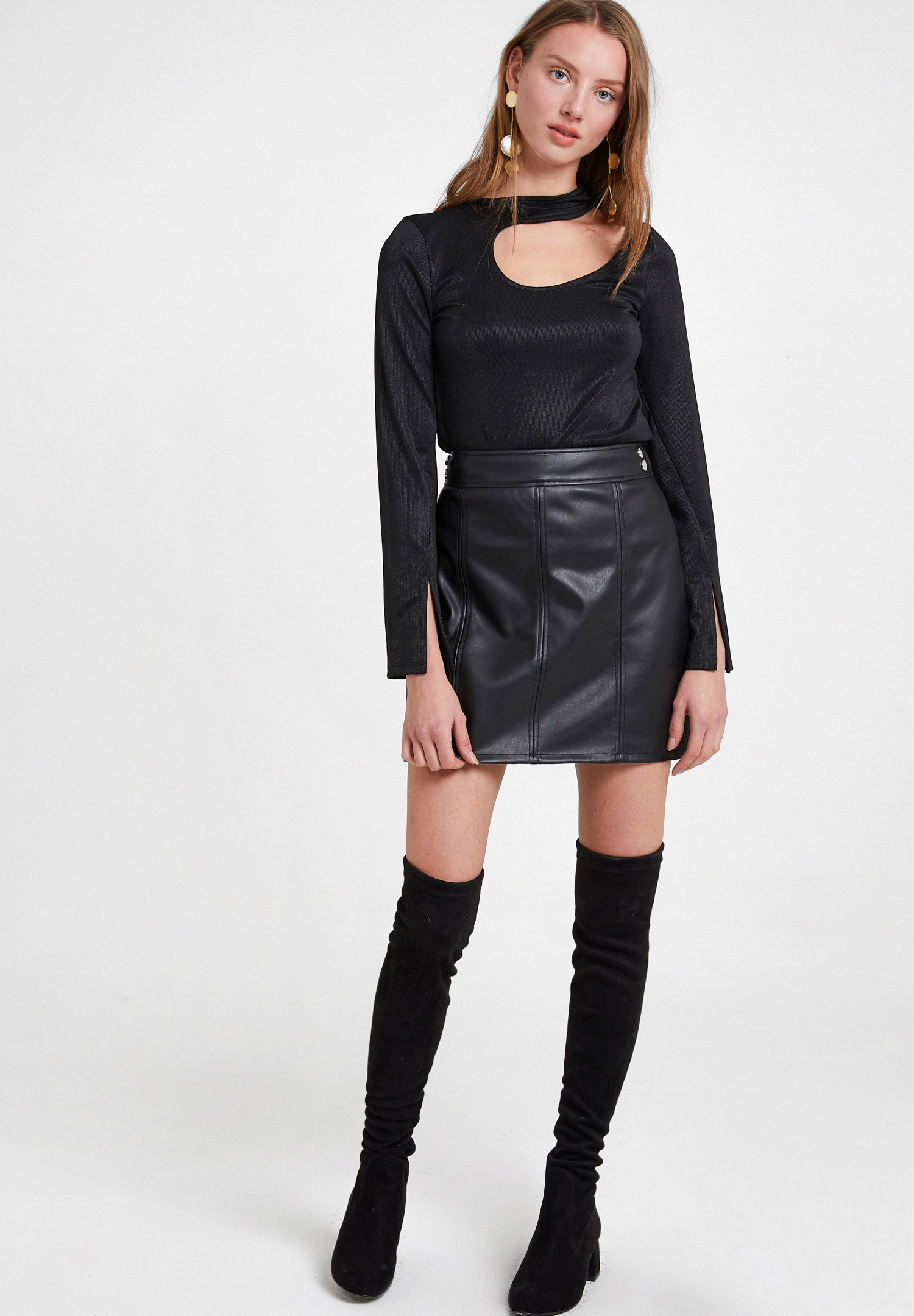 Women Black Long Sleeve Blouse with Cut-Out Details
