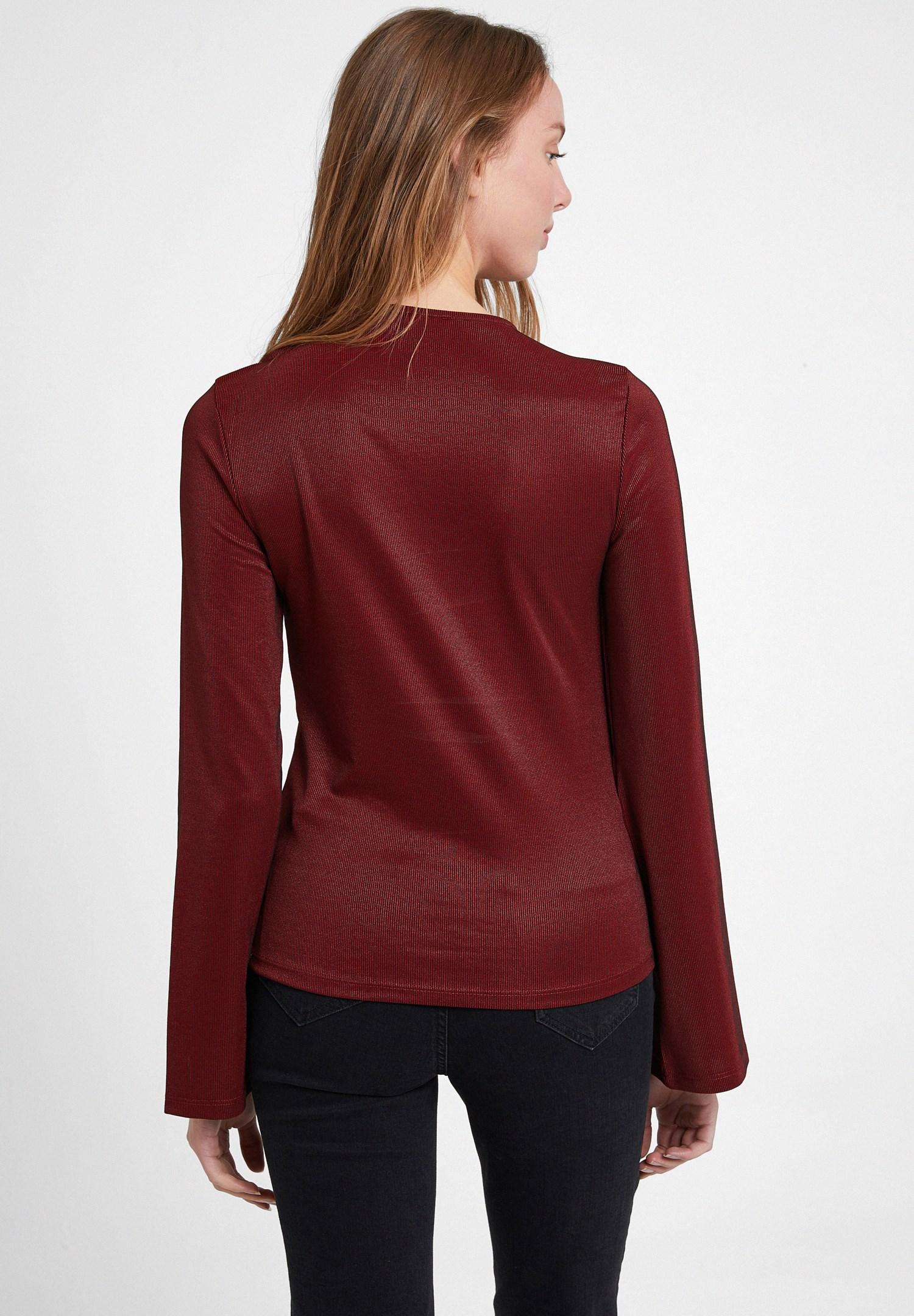 Bayan Bordo Uzun Kollu Cut Out Detaylı Bluz