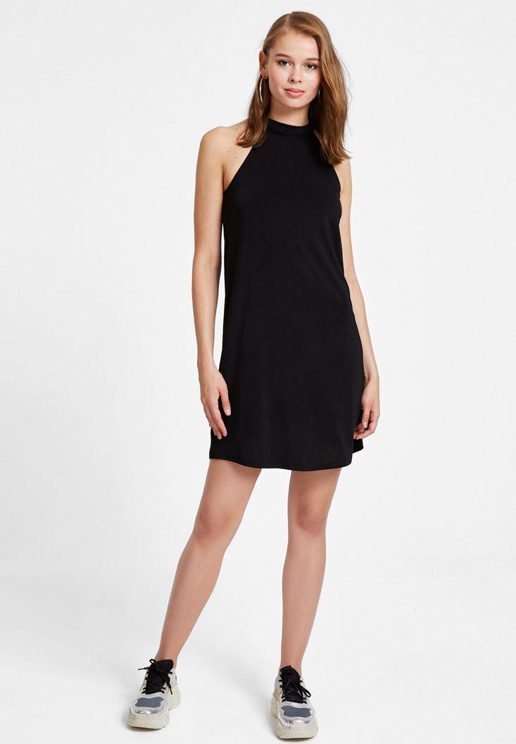Siyah Halter Yaka Mini Elbise