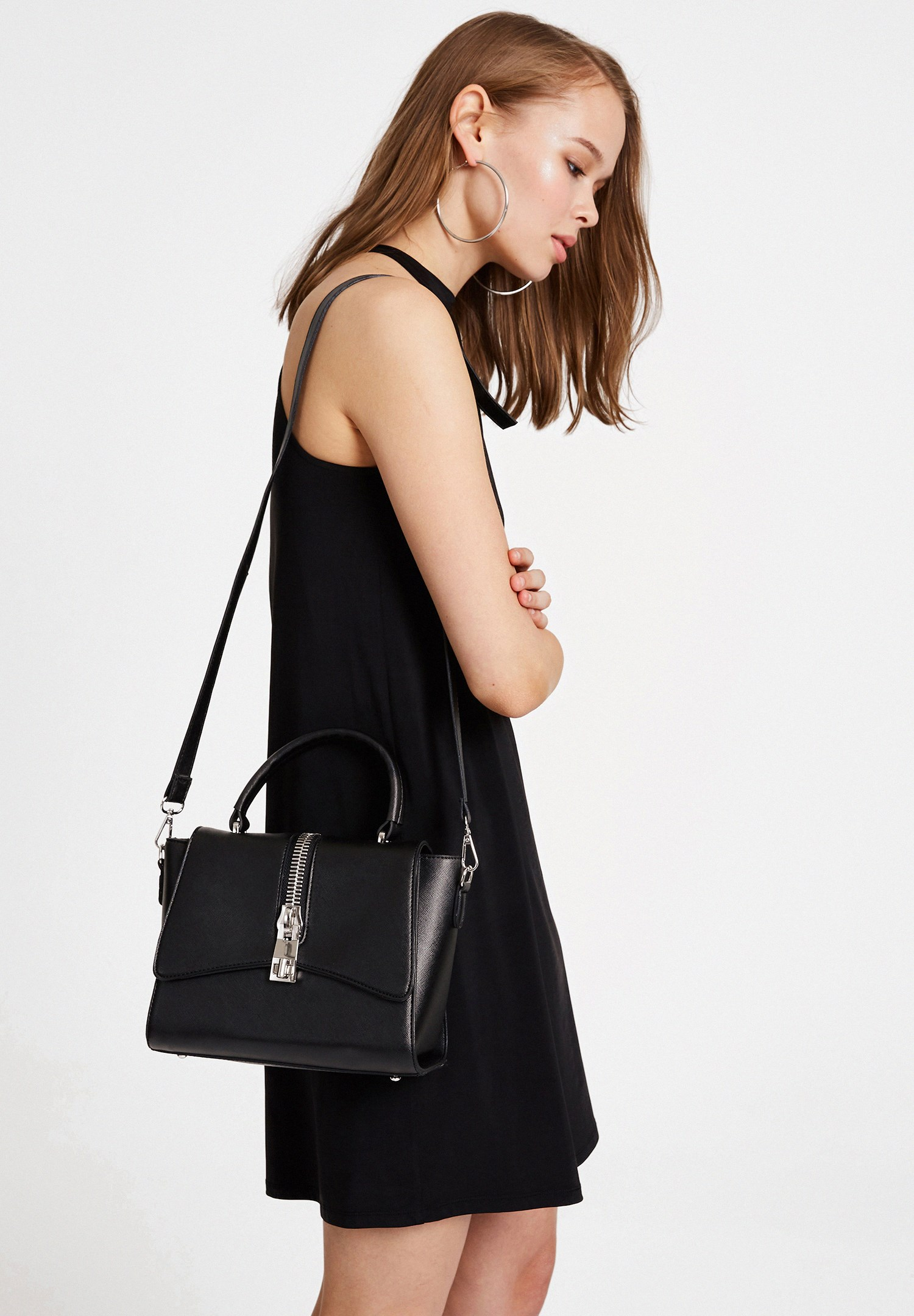 Bayan Siyah Halter Yaka Mini Elbise