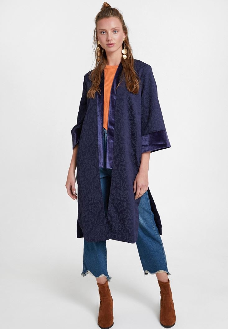 Lacivert Dokulu Saten Detaylı Kimono