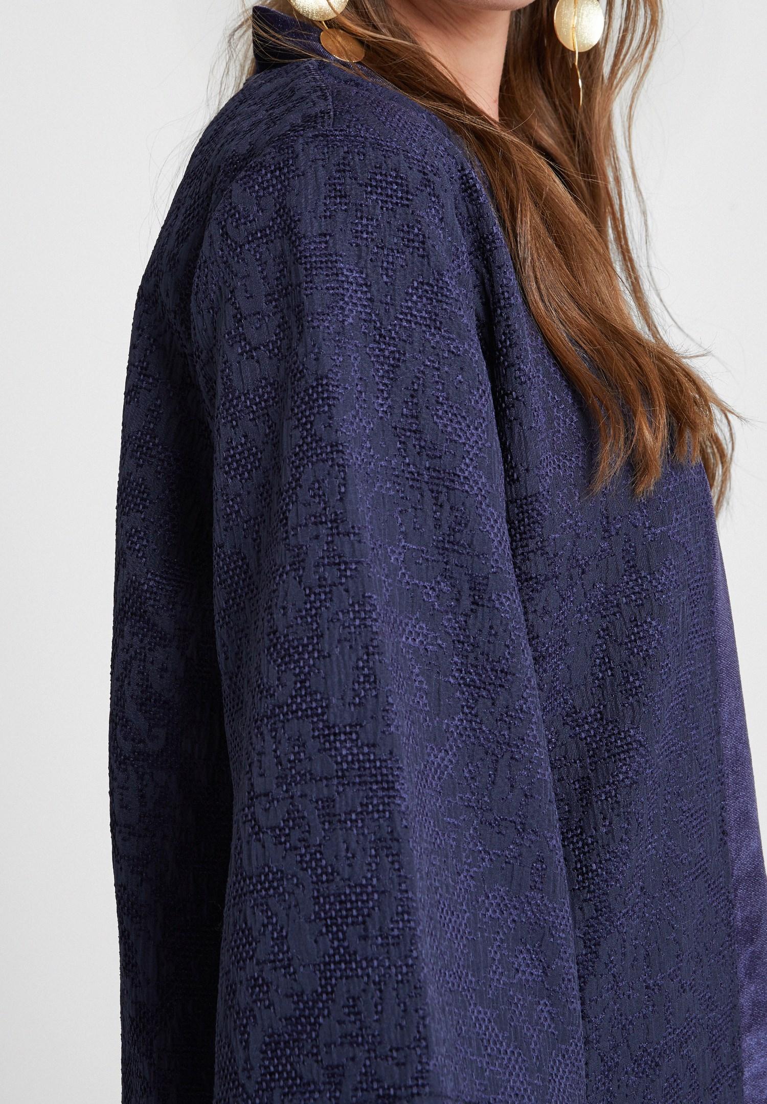 Bayan Lacivert Dokulu Saten Detaylı Kimono