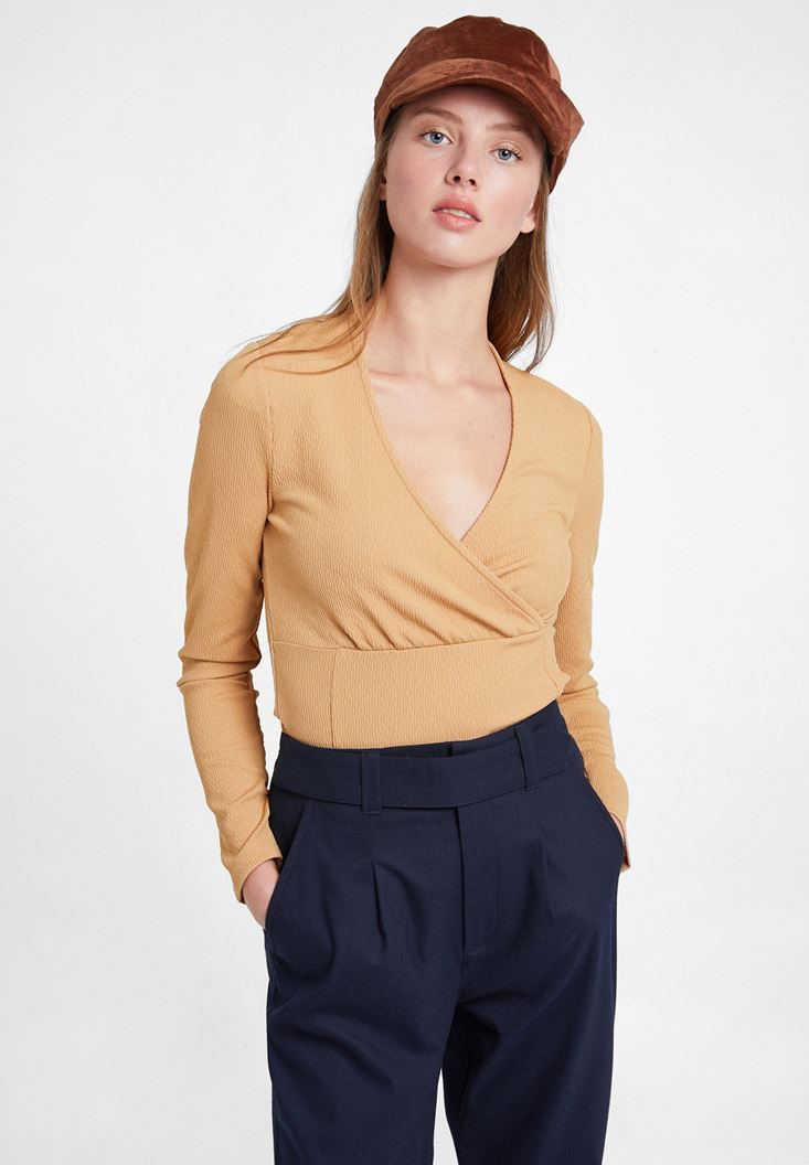 Textured Crossover Blouse