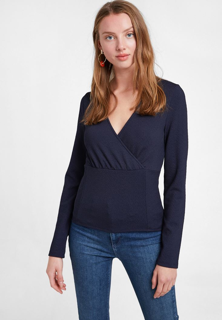 Navy Textured Crossover Blouse