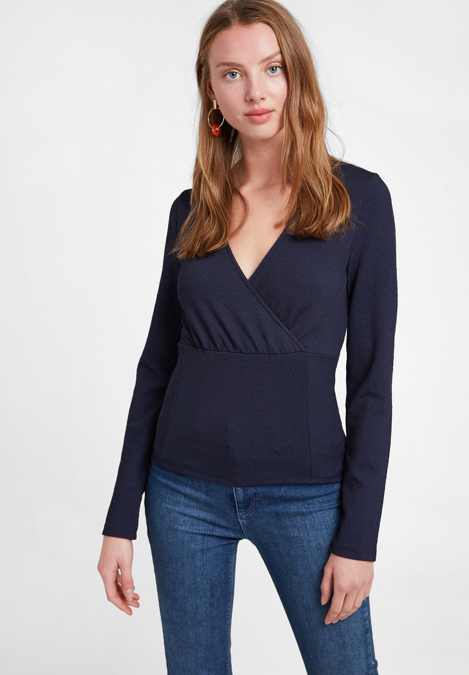 Women Navy Textured Crossover Blouse