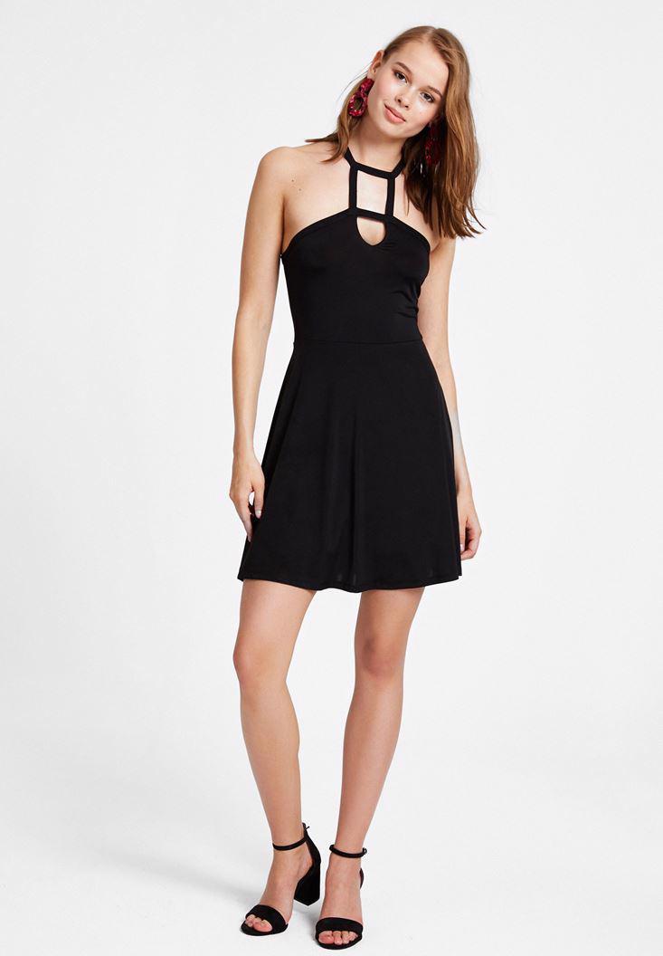 Bayan Siyah Yaka Detaylı Mini Elbise