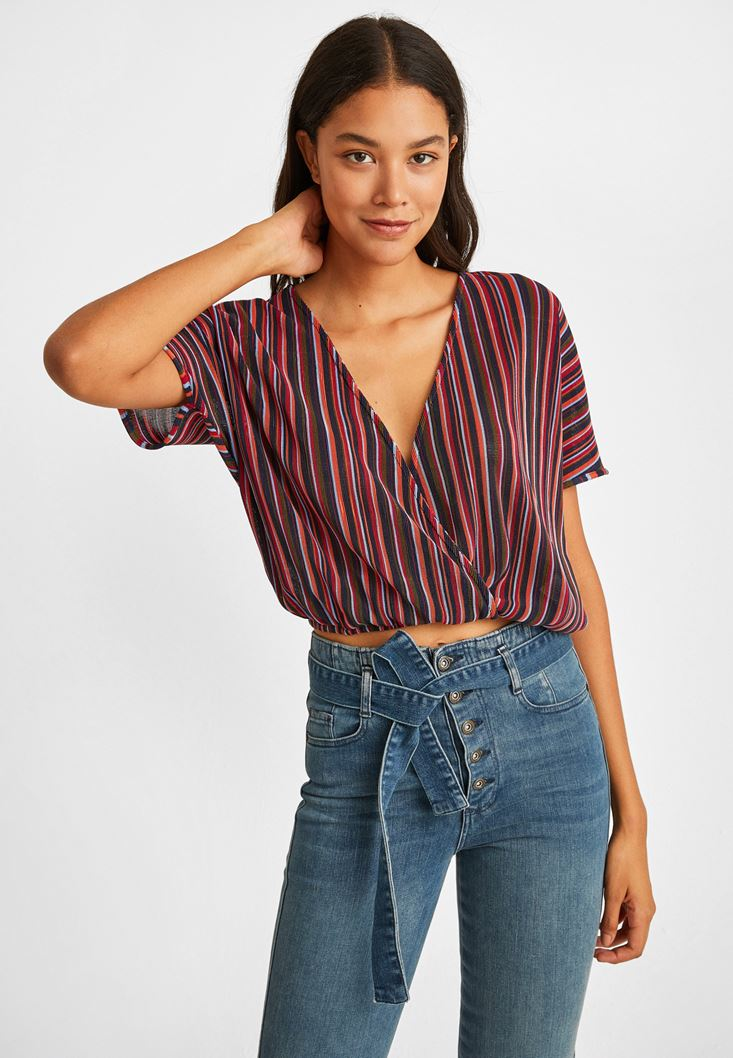 Mixed Striped Half Sleeve Double Breast Blouse
