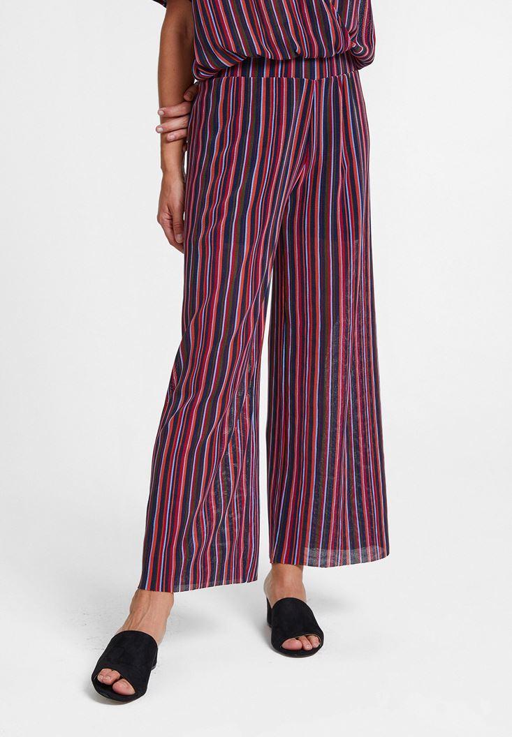 Çok Renkli Çizgili Beli Lastikli Pantolon