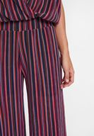 Bayan Çok Renkli Çizgili Beli Lastikli Pantolon