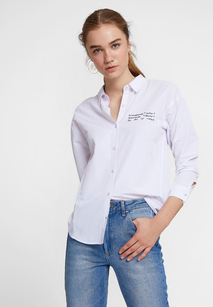 White Shirt with Slogan Details