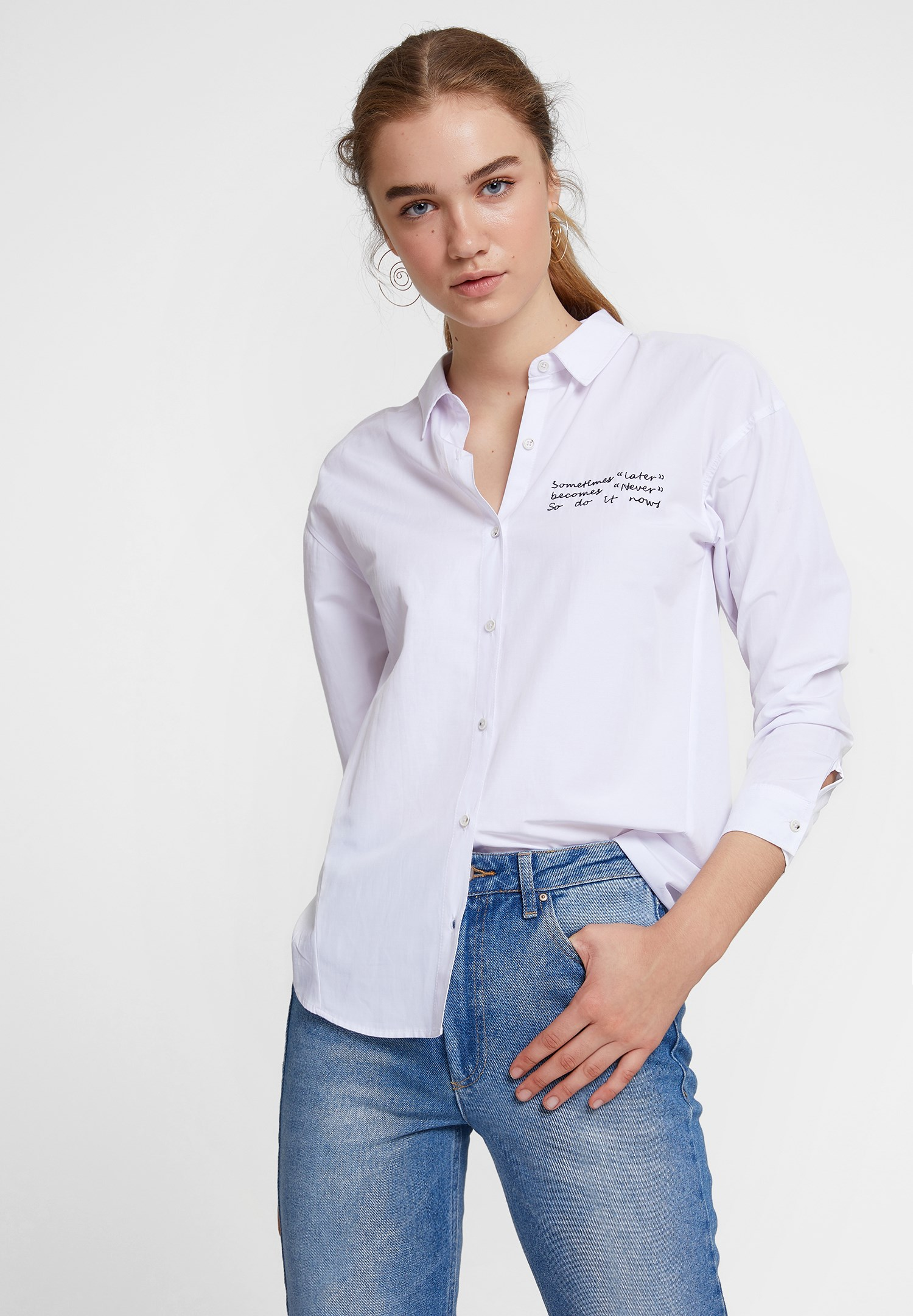 Women White Shirt with Slogan Details