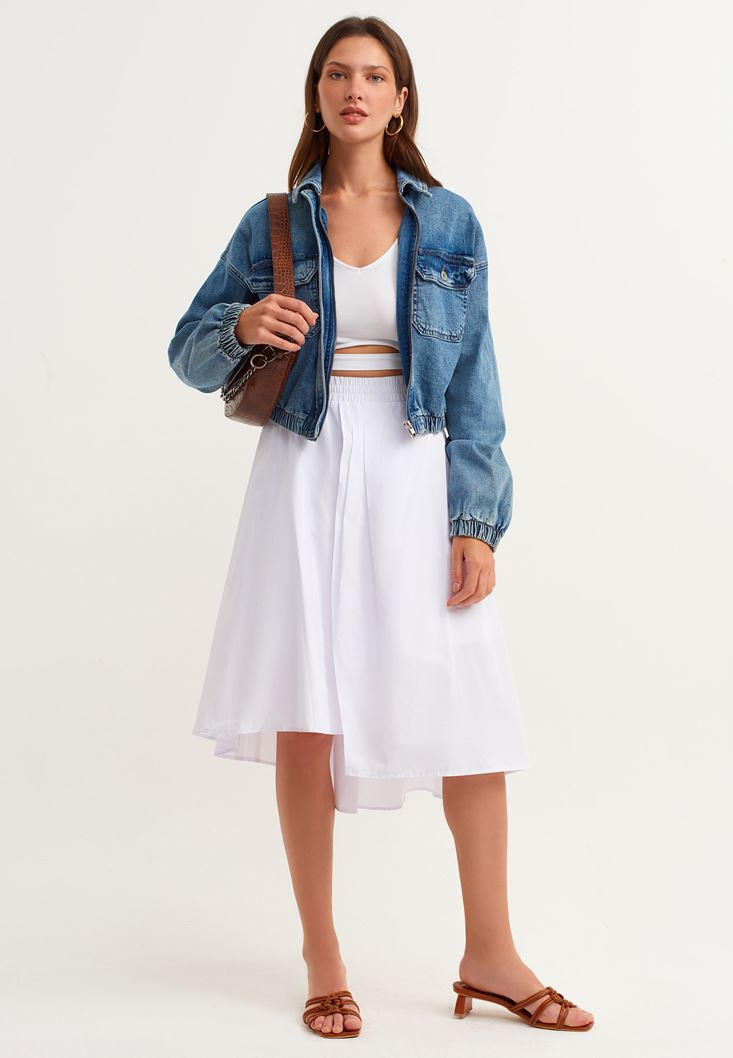 White Pleated Skirt with Detail