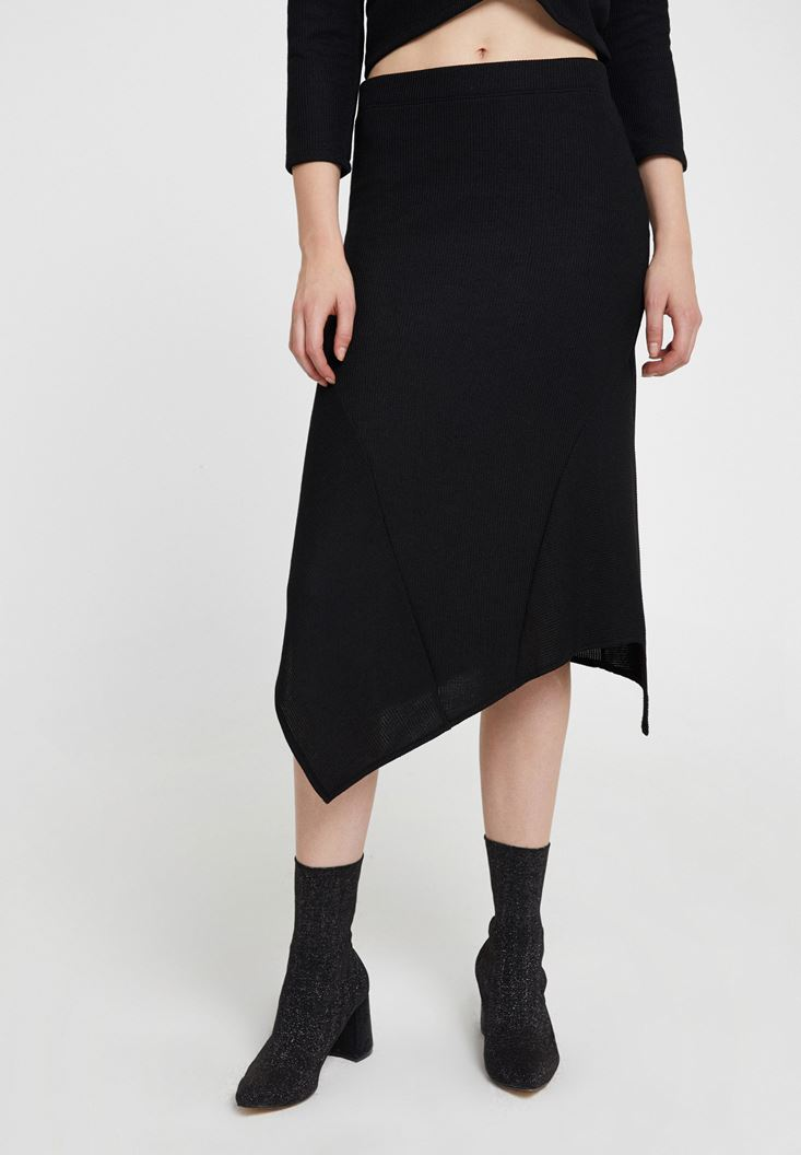 Black Asymmetric Midi Skirt with Details
