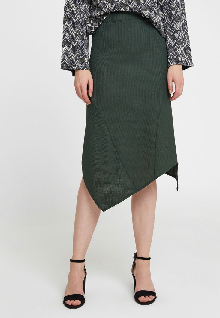 Green Asymmetric Midi Skirt with Details