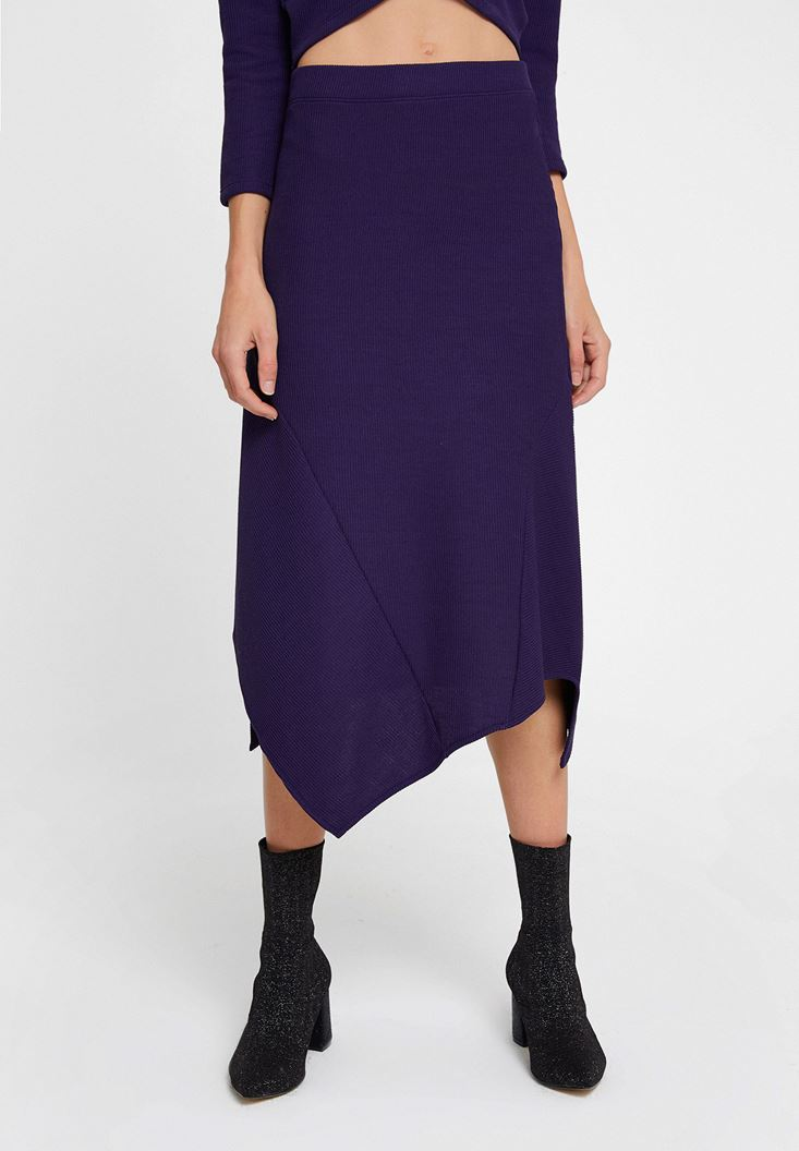 Purple Asymmetric Midi Skirt with Details