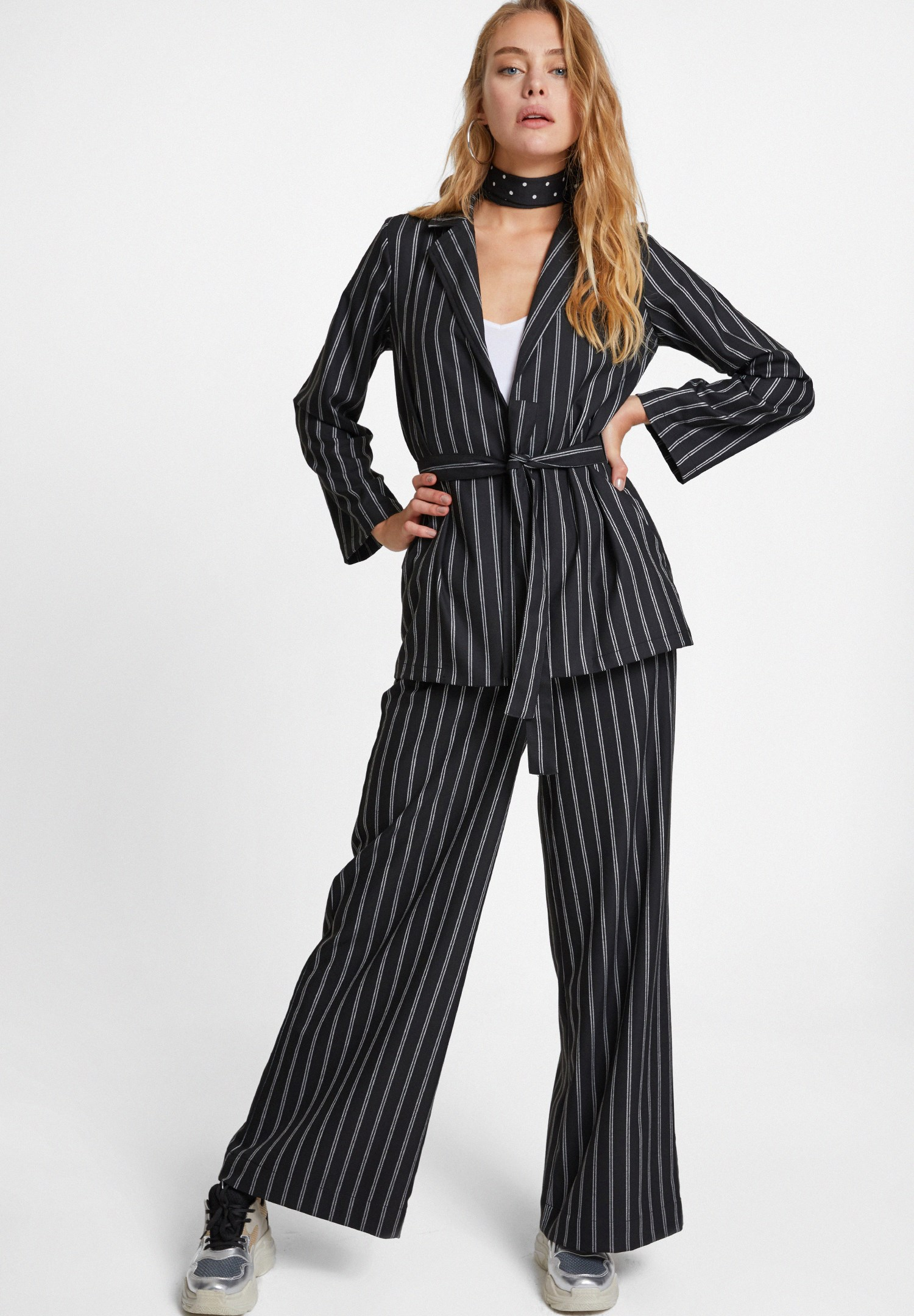 Bayan Çok Renkli Çizgi Desenli Beli Bağlamalı Ceket
