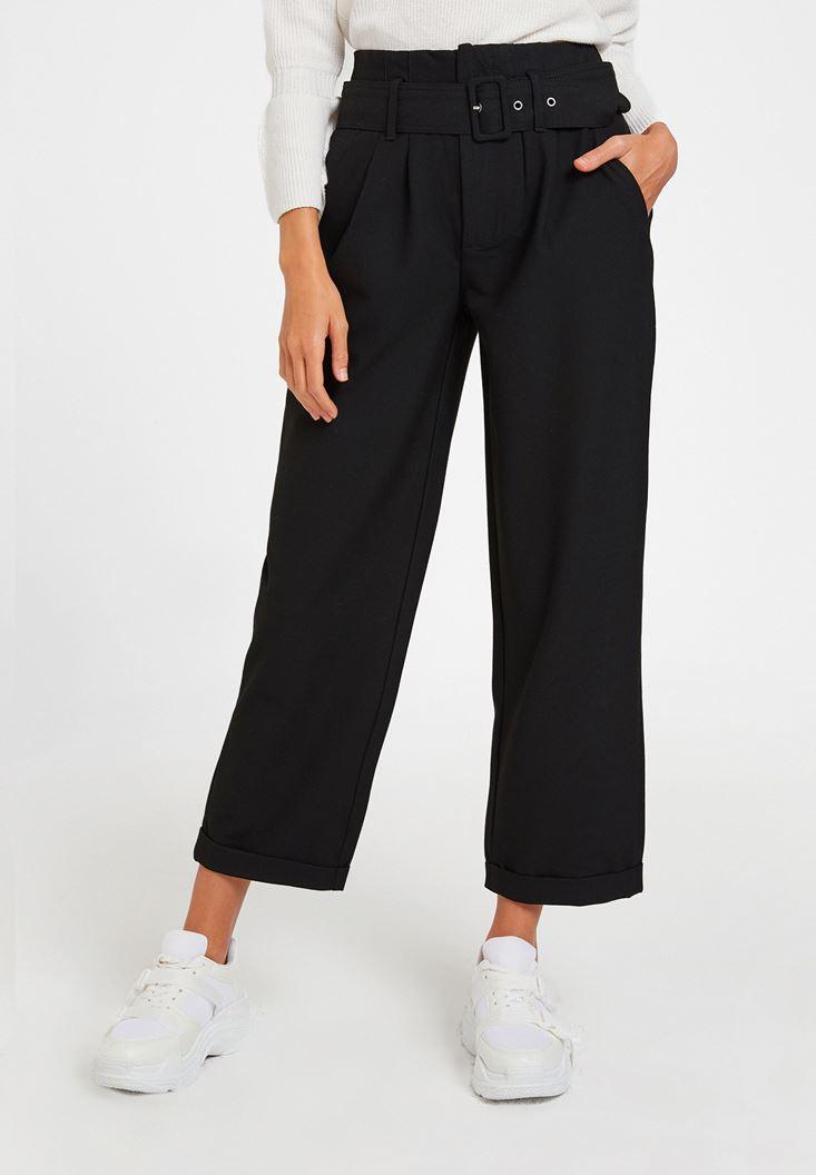 Siyah Kemerli Bol Pantolon