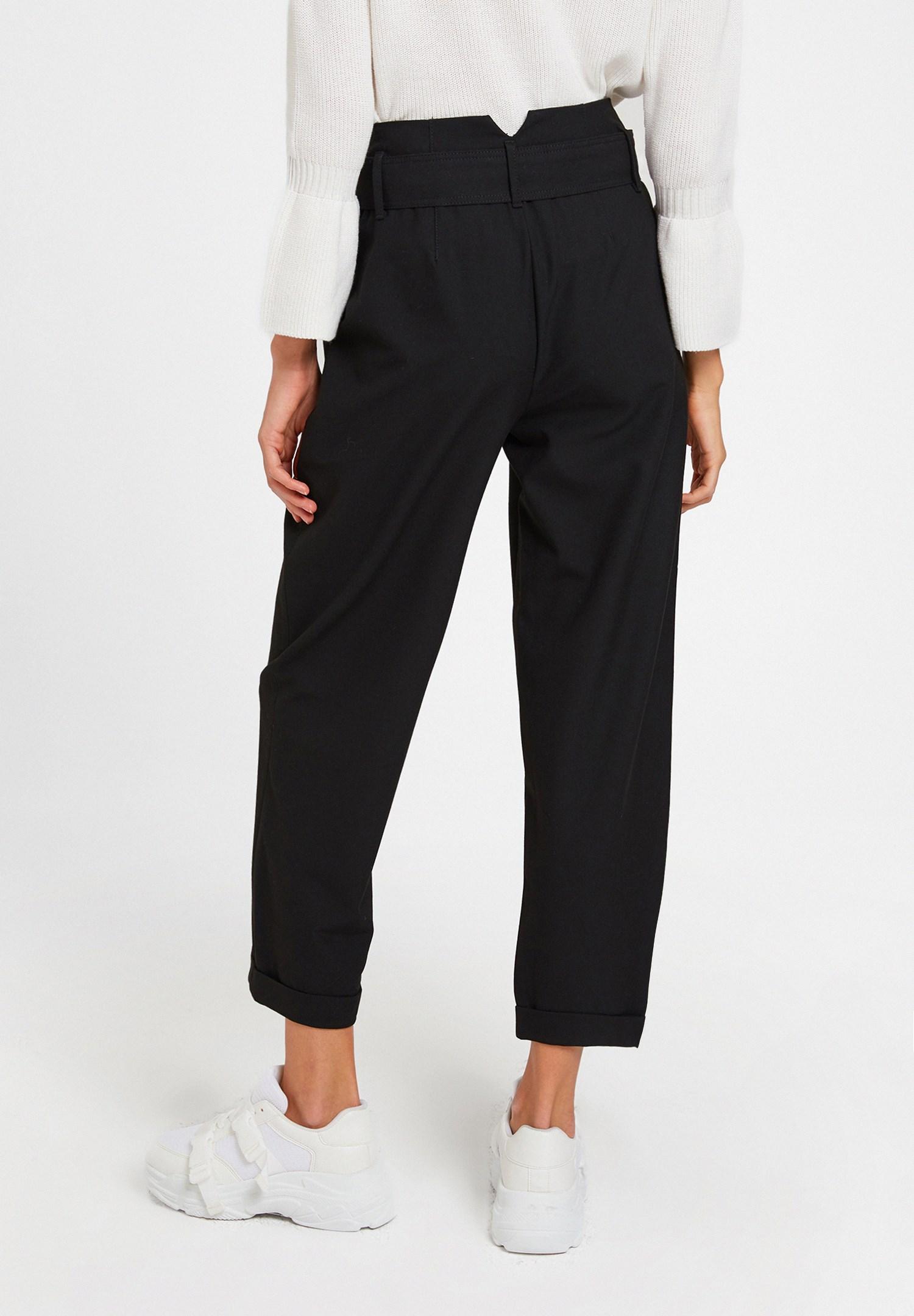 Bayan Siyah Kemerli Bol Pantolon