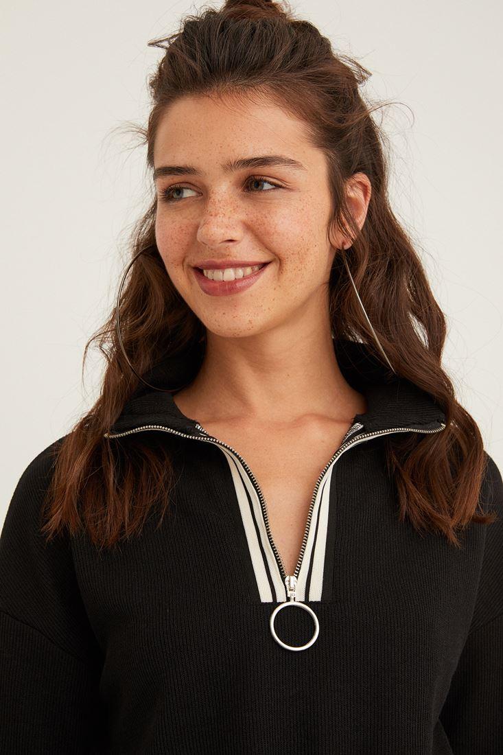 Black Sweatshirt with Zipper