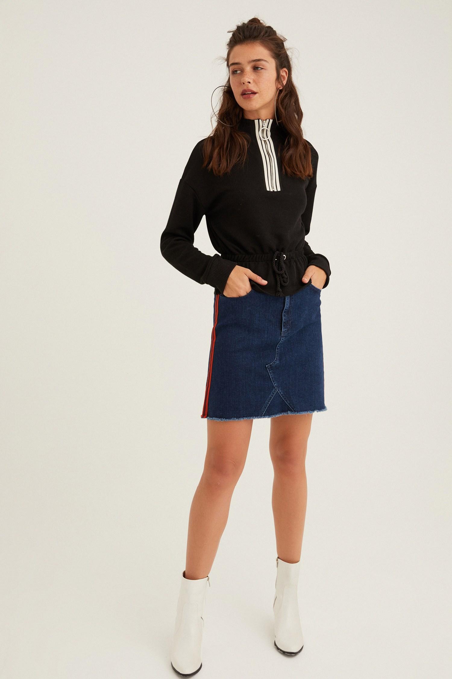 Bayan Siyah Yakası Fermuar Detaylı Sweatshirt