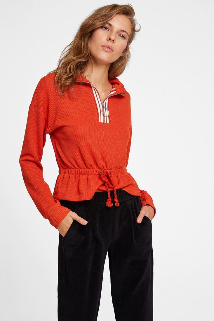 Turuncu Yakası Fermuar Detaylı Sweatshirt