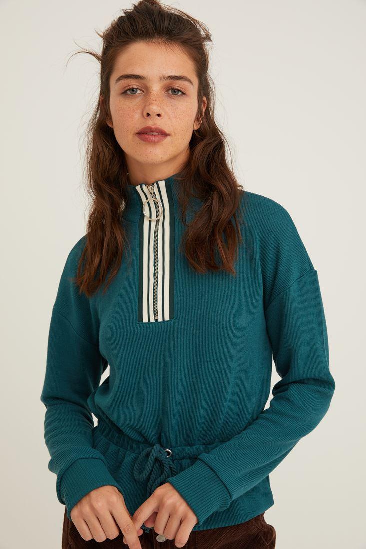 Yeşil Yakası Fermuar Detaylı Sweatshirt
