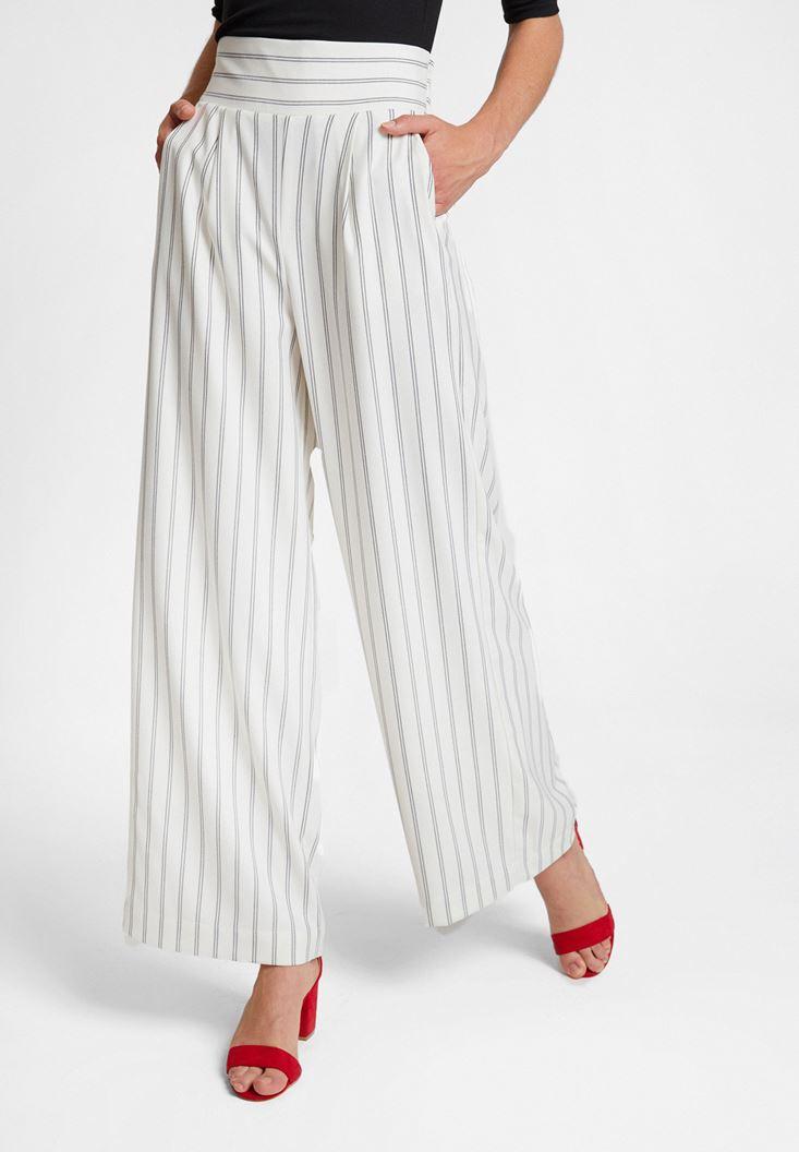 Çok Renkli Çizgi Desen Detaylı Bol Pantolon