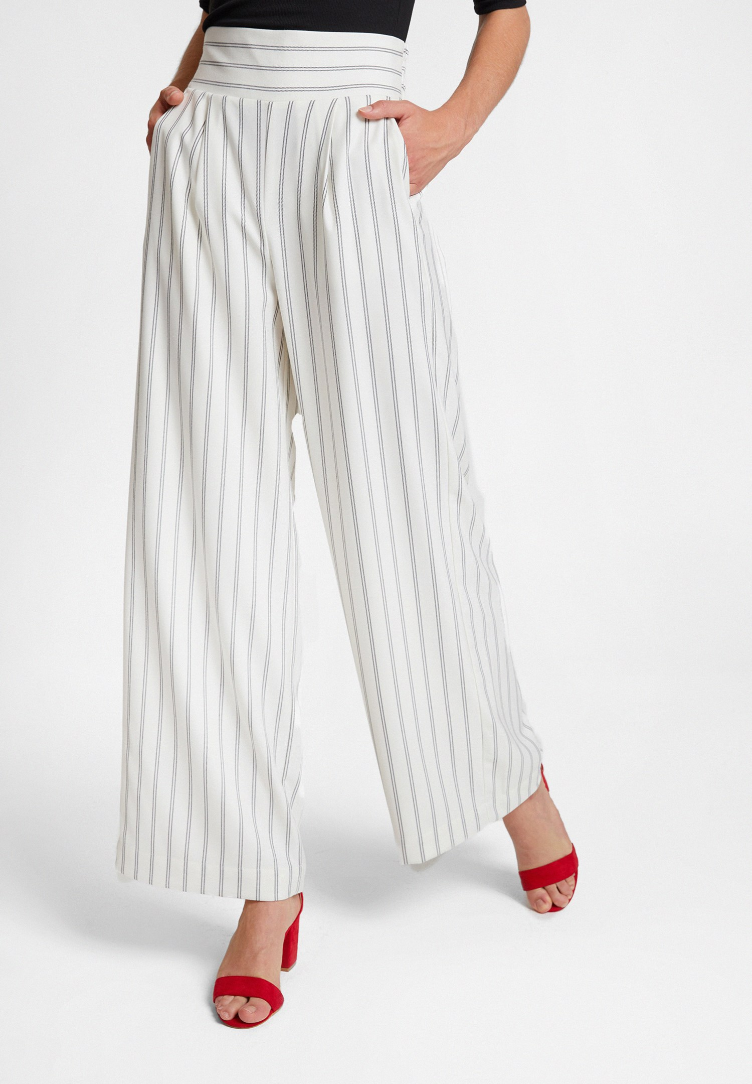 Bayan Çok Renkli Çizgi Desen Detaylı Bol Pantolon