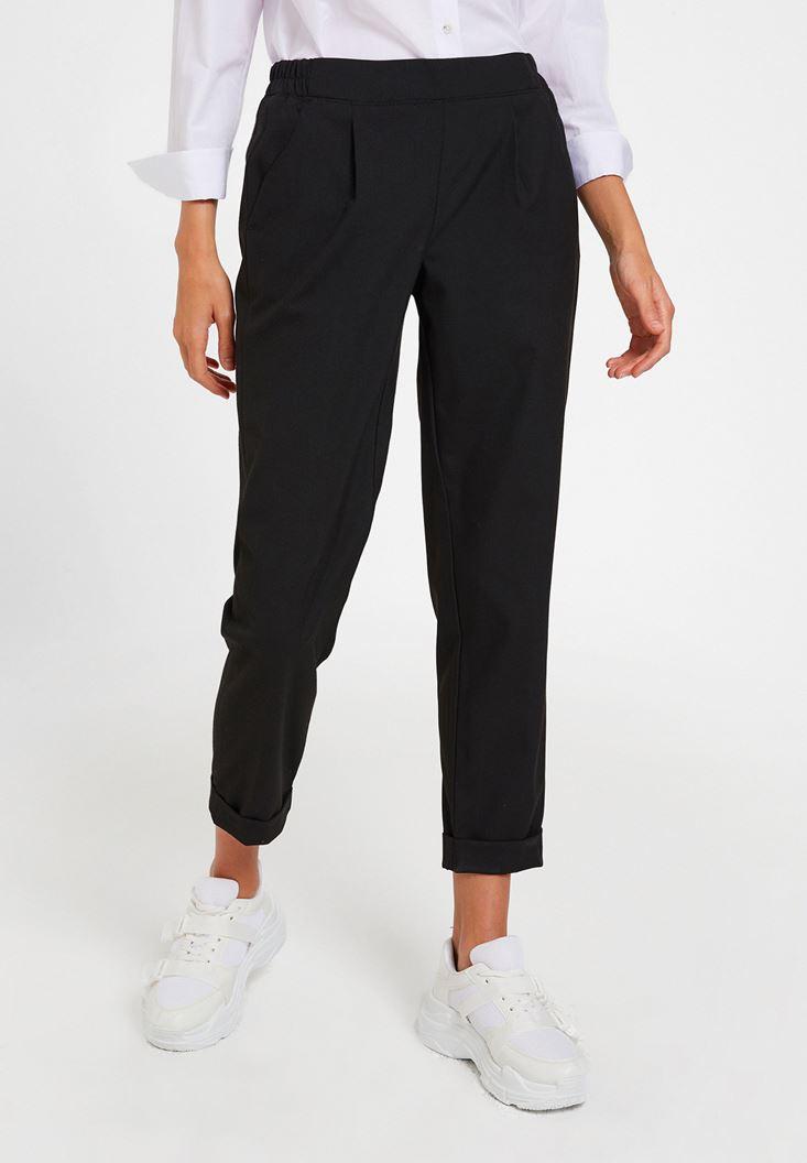 Siyah Orta Bel Bol Pantolon