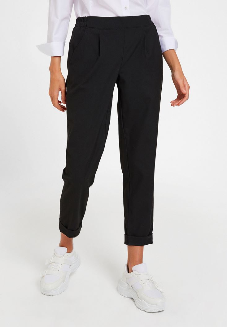 Black Mid Rise Trousers