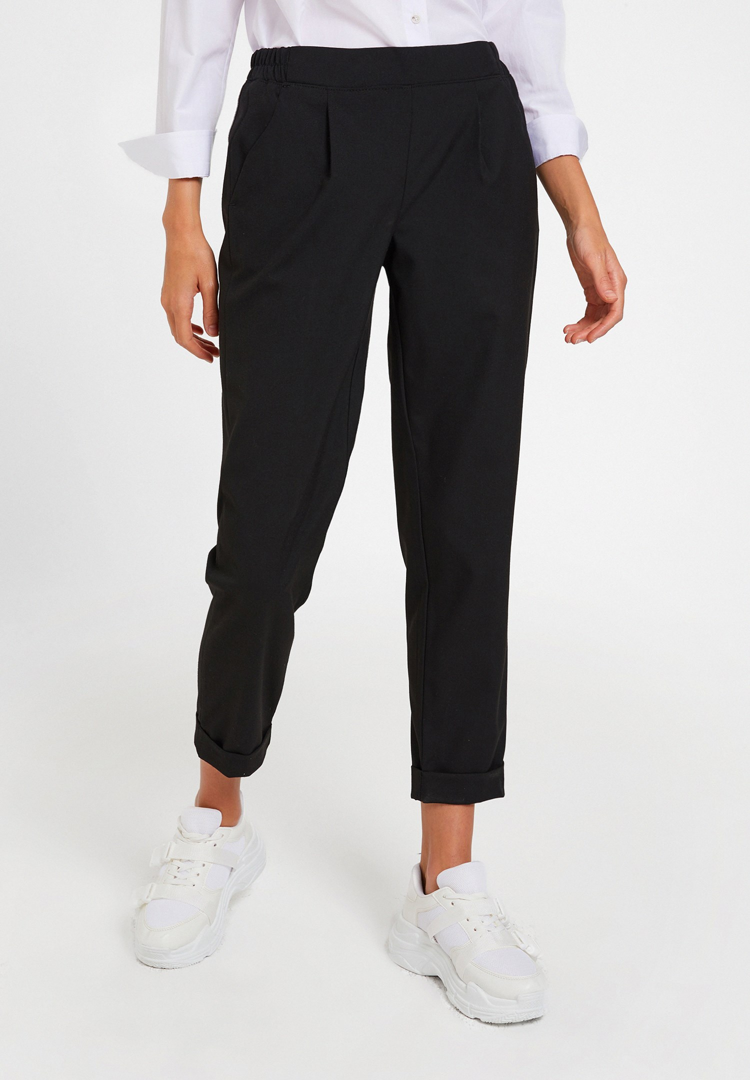 Women Black Mid Rise Trousers