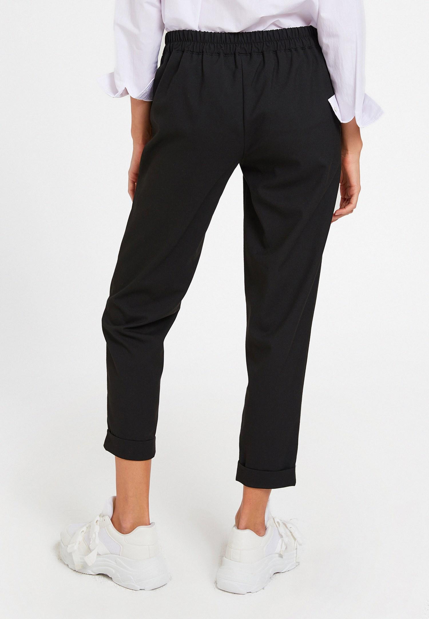Bayan Siyah Orta Bel Bol Pantolon