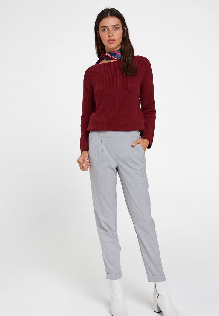 Grey Mid Rise Trousers