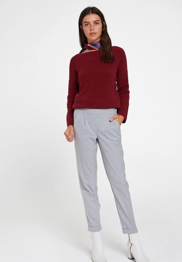Gri Orta Bel Bol Pantolon