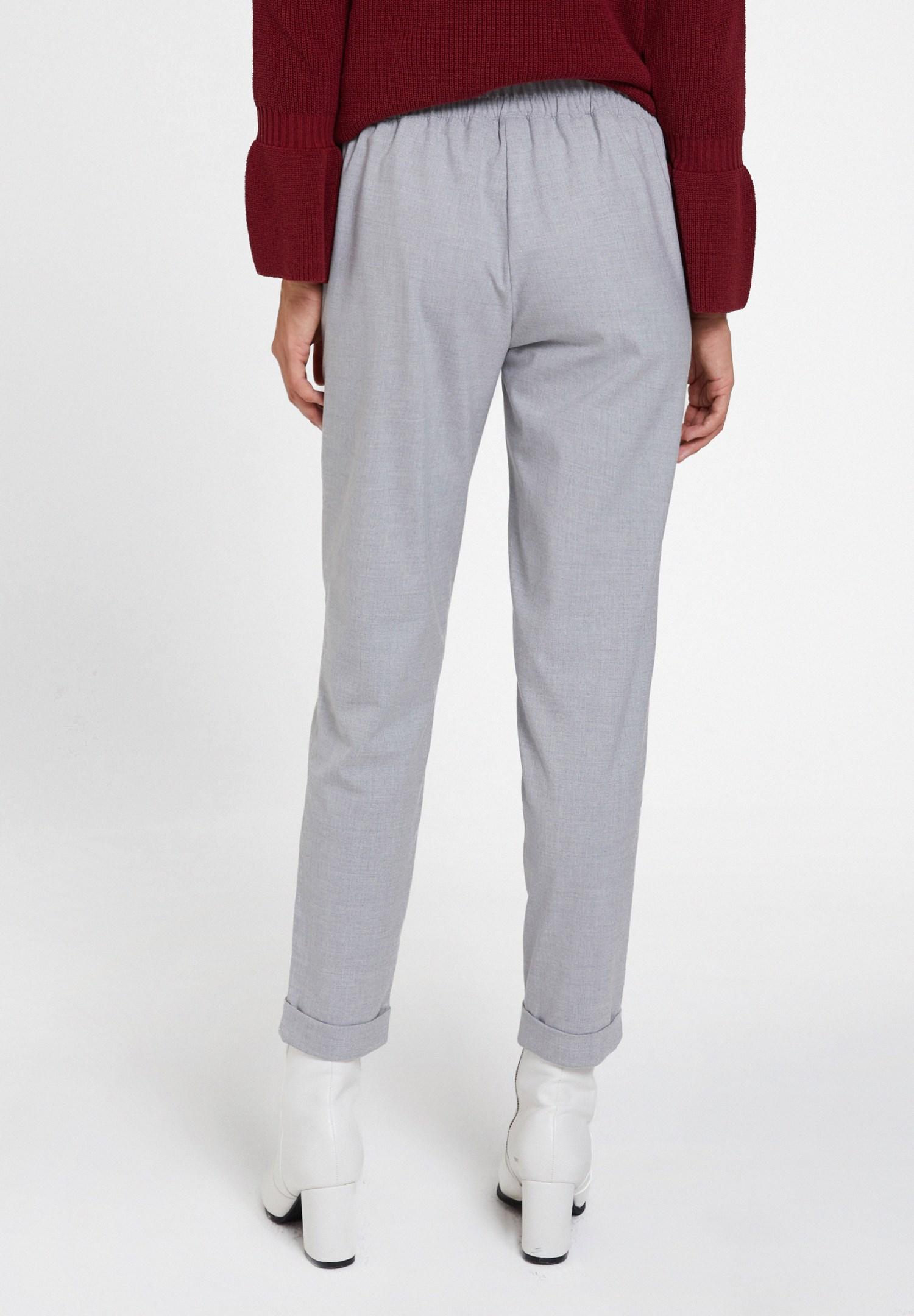 Bayan Gri Orta Bel Bol Pantolon