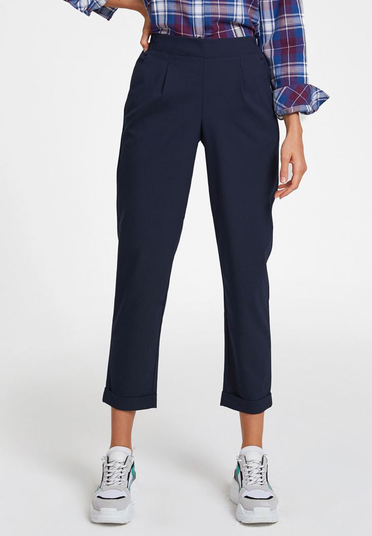 Navy Mid Rise Trousers