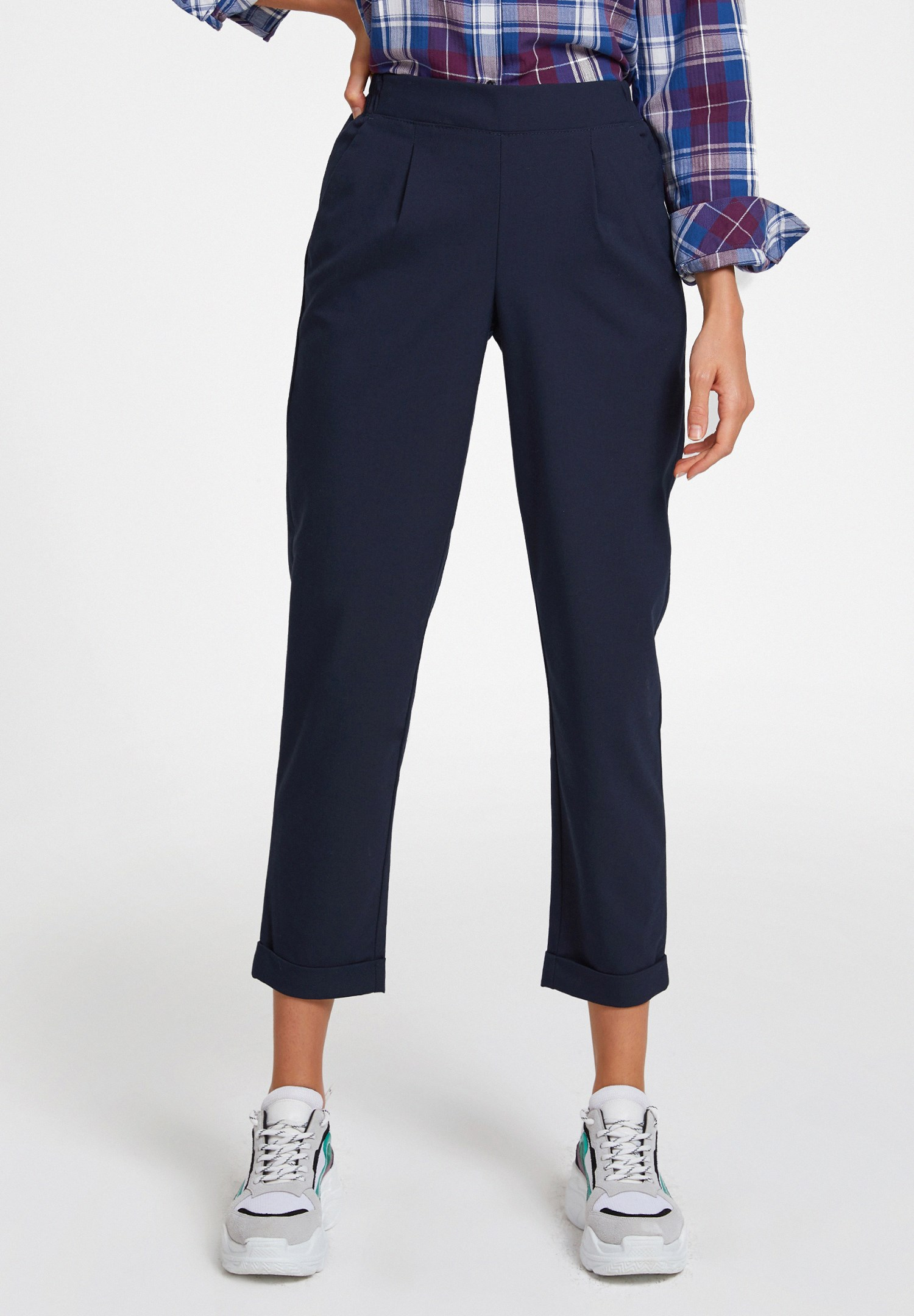 Women Navy Mid Rise Trousers