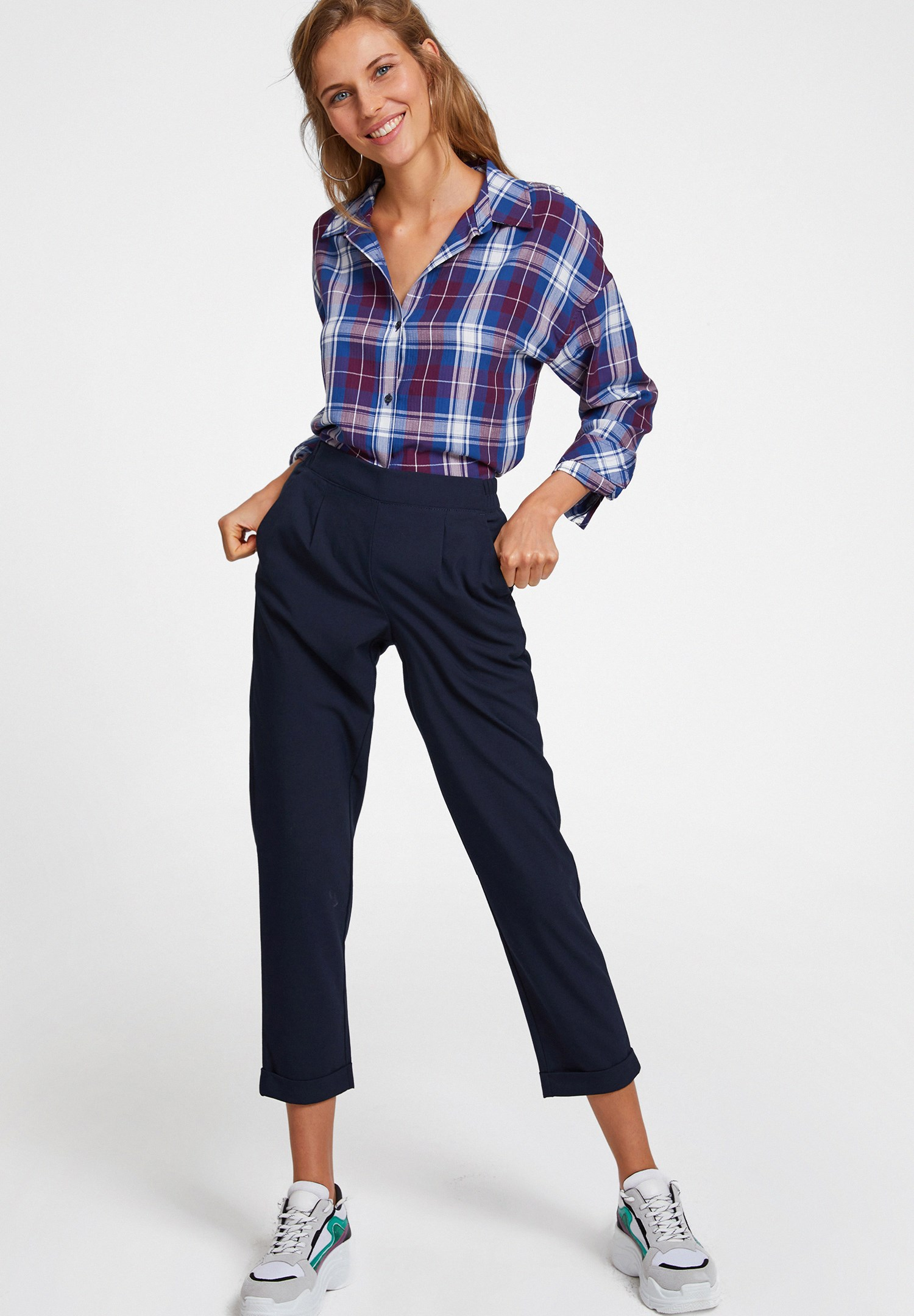 Bayan Lacivert Orta Bel Bol Pantolon
