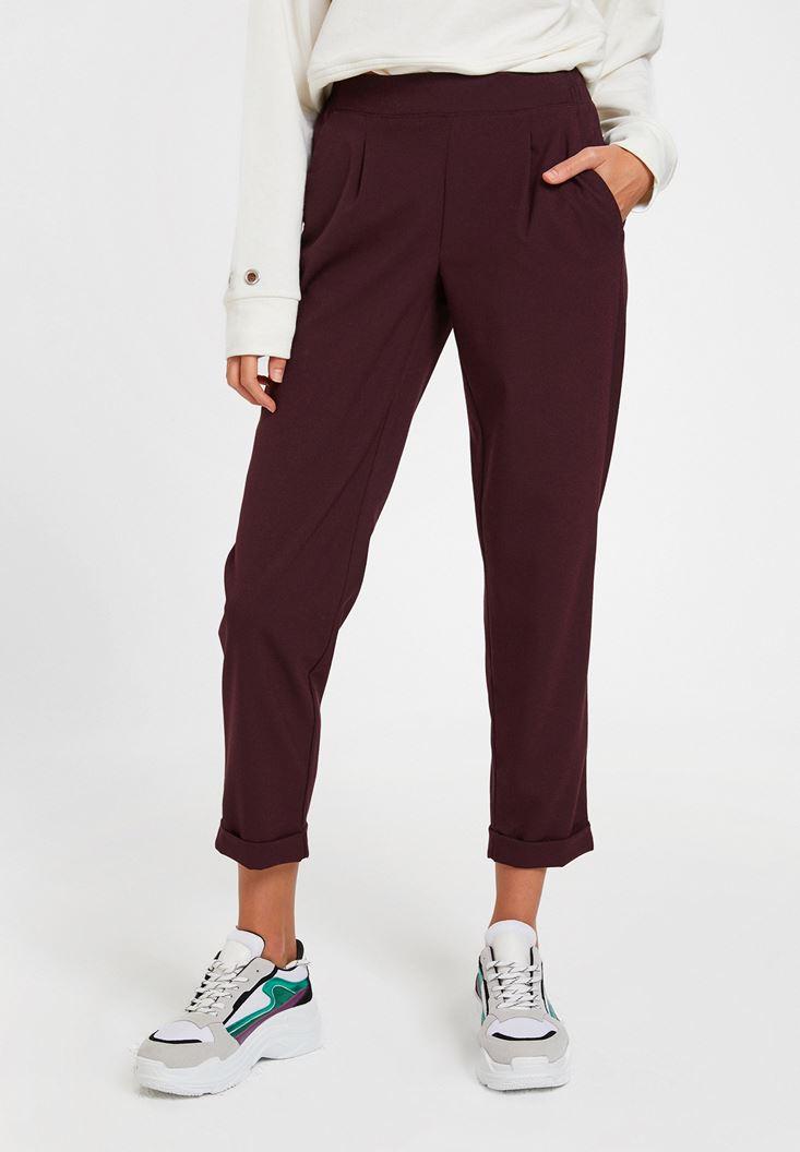 Bordo Orta Bel Bol Pantolon