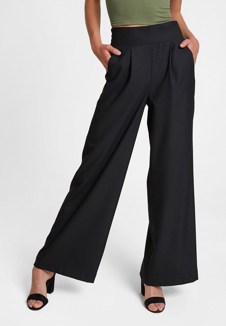 Siyah Bol Paça Cepli Pantolon