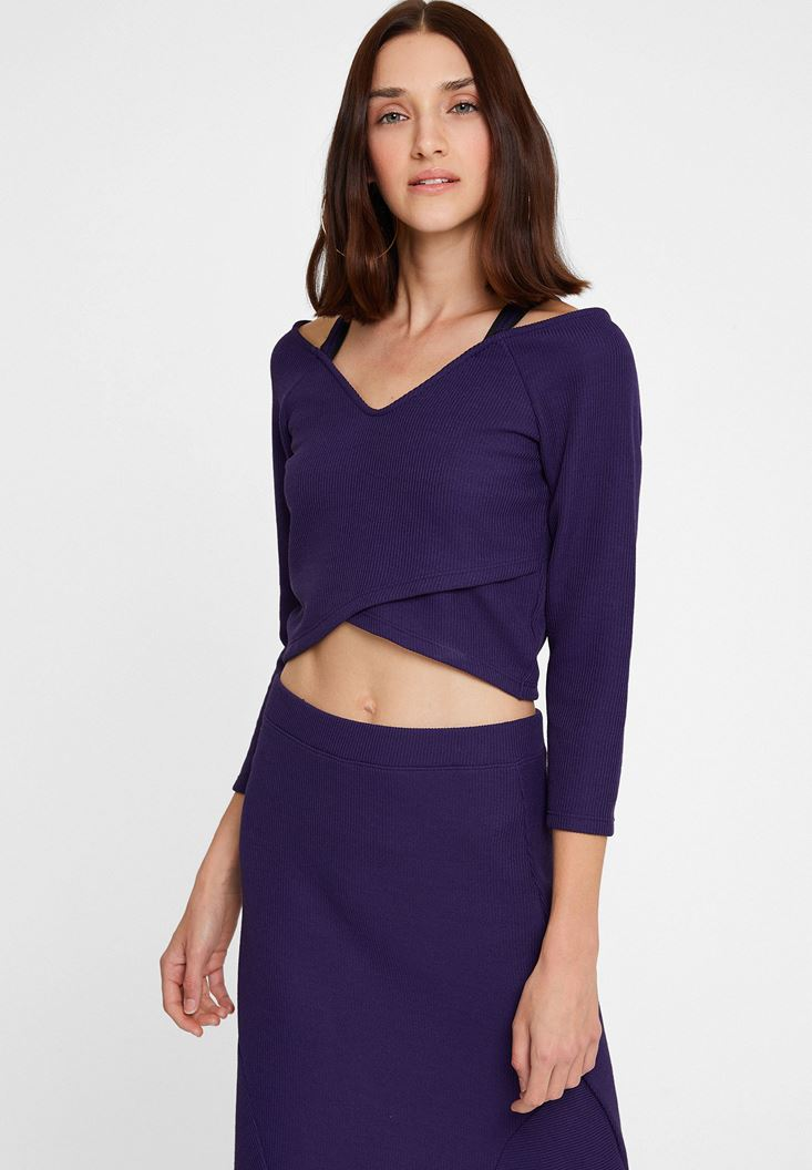 Purple Top with Pipe Details