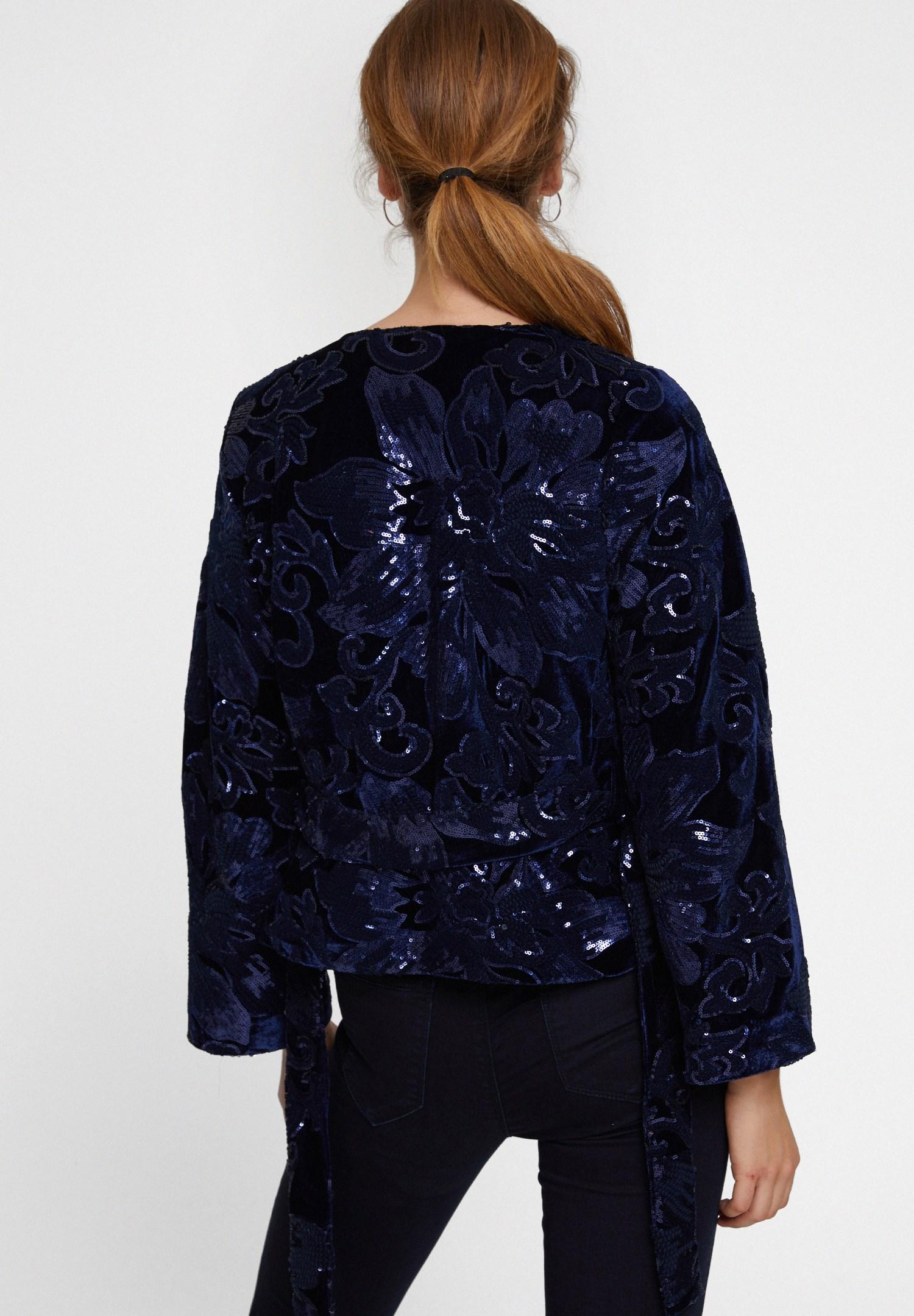 Bayan Lacivert Payetli Ceket