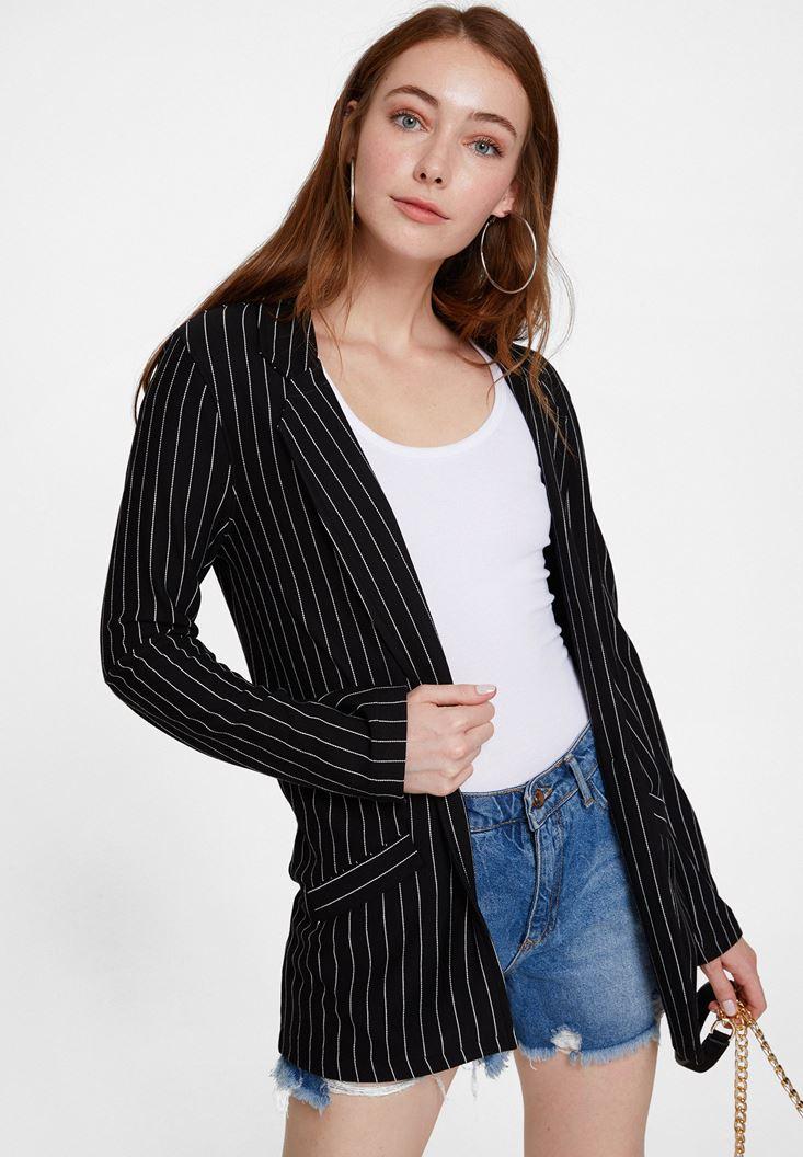 Mixed Blazer Jacket with Stripe