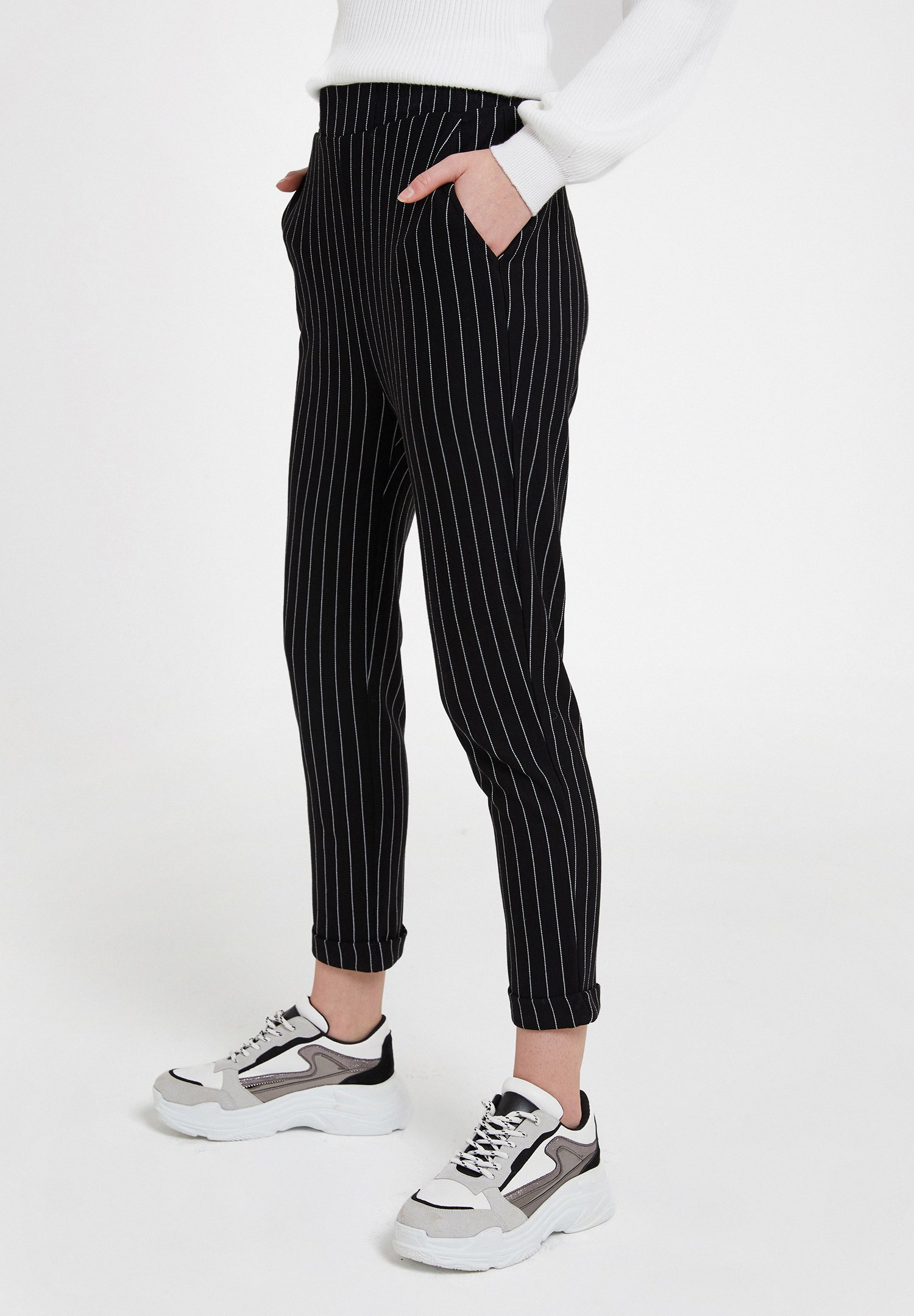 Women Mixed Jogger with Stripe
